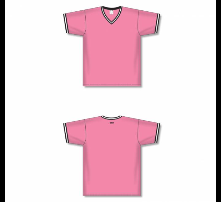 V-Neck Baseball Jersey - Pink