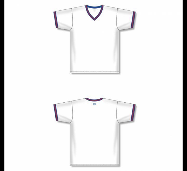 V-Neck Baseball Jersey - White/Royal/Red