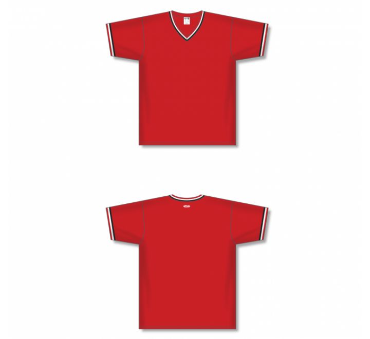 V-Neck Baseball Jersey - Red