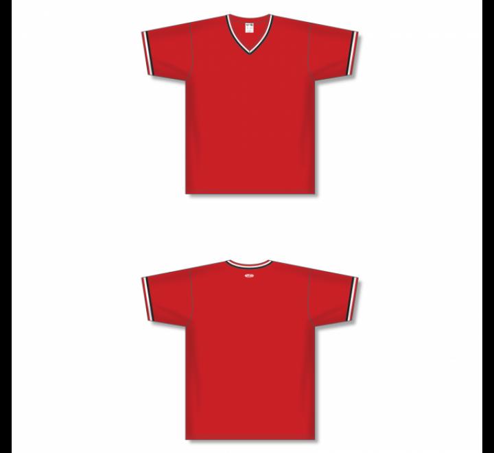 V-Neck Baseball Jersey - Red