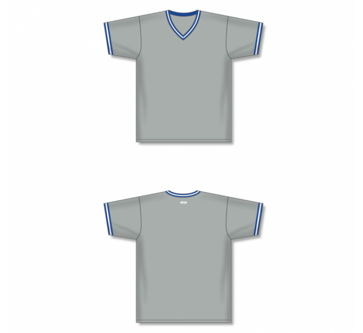 V-Neck Baseball Jersey - Grey/Royal
