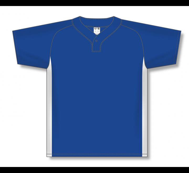 One Button Baseball Jerseys - Royal/White