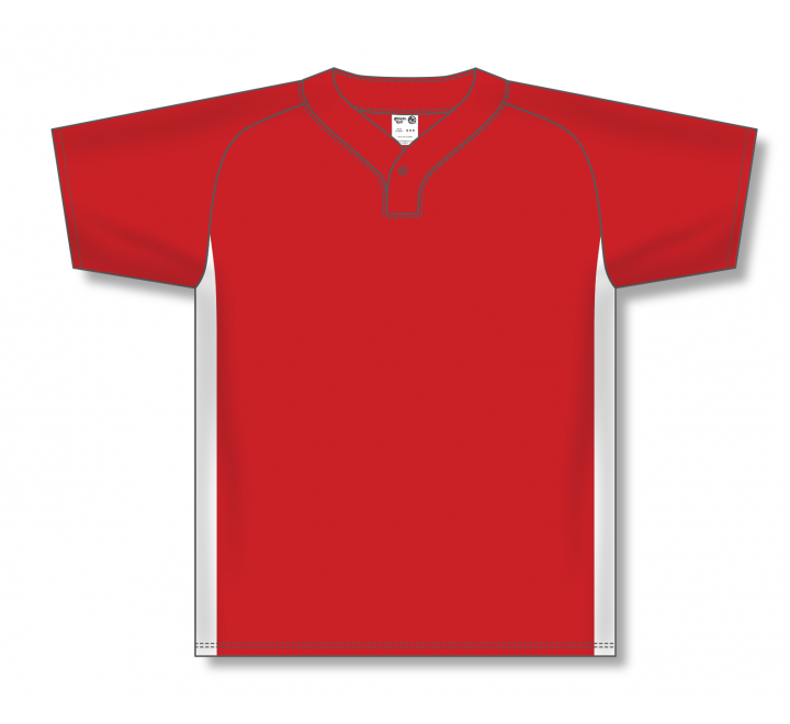 One Button Baseball Jerseys - Red/White
