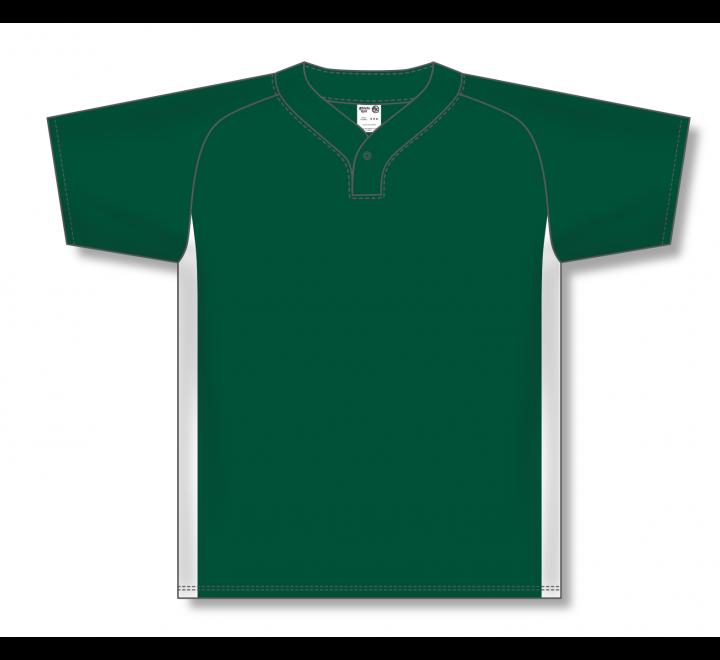 One Button Baseball Jerseys - Dark Green/White