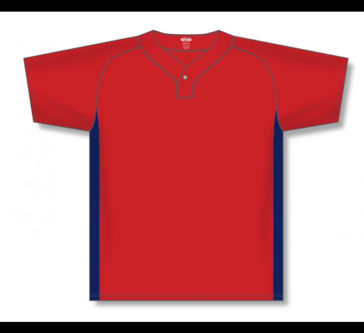 One Button Baseball Jerseys - Red/Navy