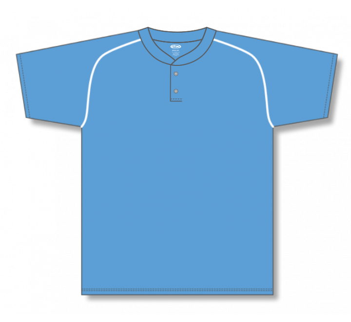 Two Button Baseball Jerseys - Sky/White