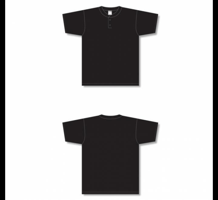 Two-Button Baseball Jersey - Black