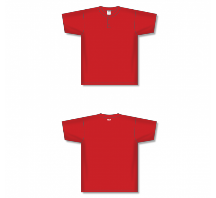 Two-Button Baseball Jersey - Red