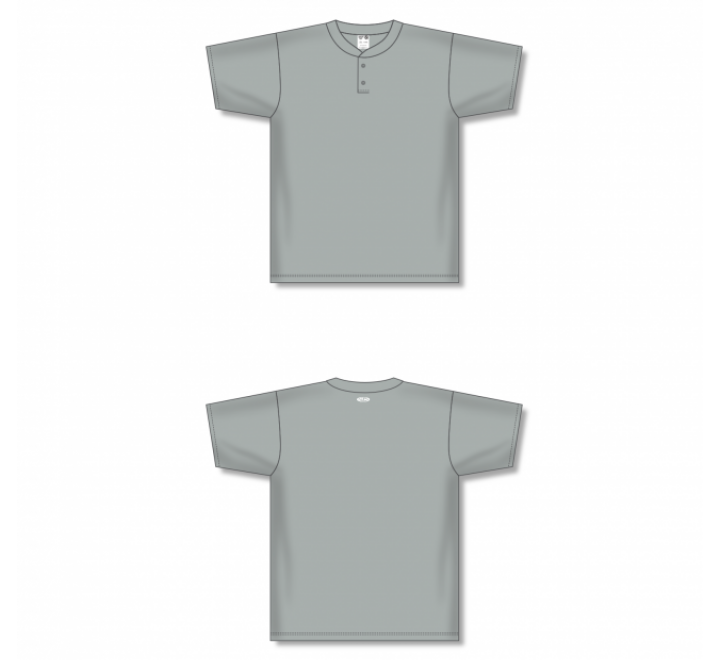 Two-Button Baseball Jersey - Grey