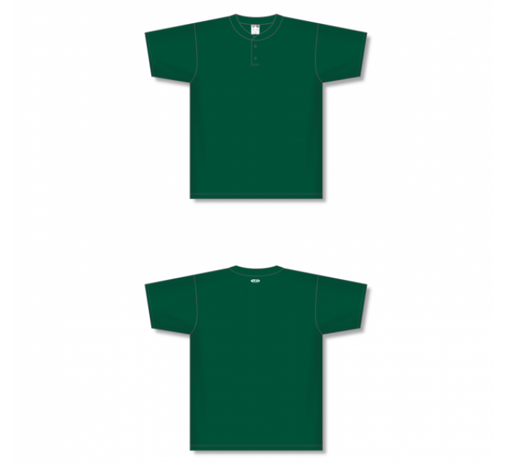 Two-Button Baseball Jersey - Dark Green