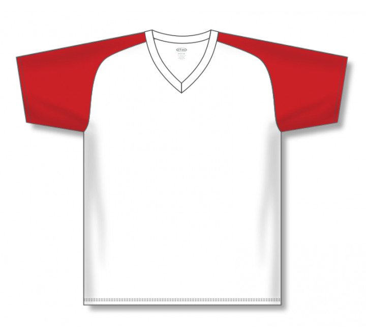 V-Neck Baseball Jerseys - White/Red