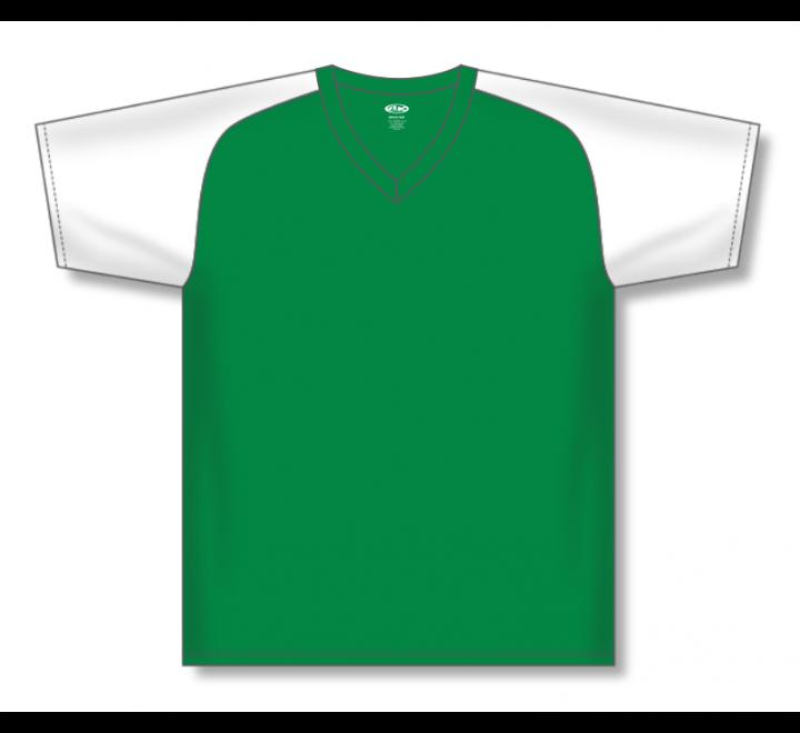 V-Neck Baseball Jerseys - Kelly/White