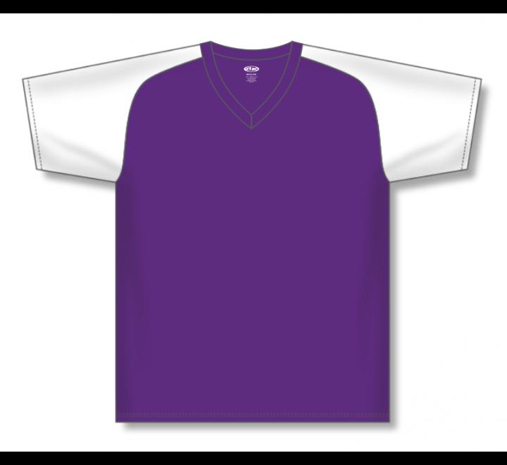 V-Neck Baseball Jerseys - Purple/White