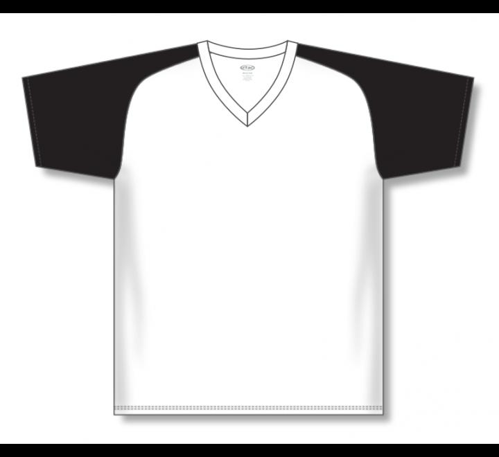 V-Neck Baseball Jerseys - White/Black