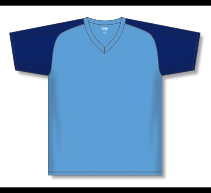 V-Neck Baseball Jerseys - Sky/Navy