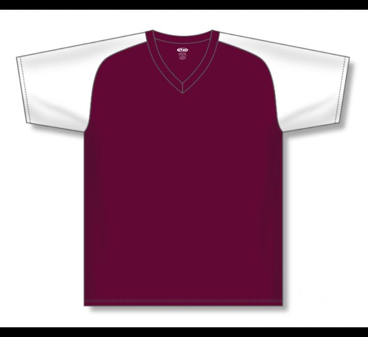 V-Neck Baseball Jerseys - Maroon/White
