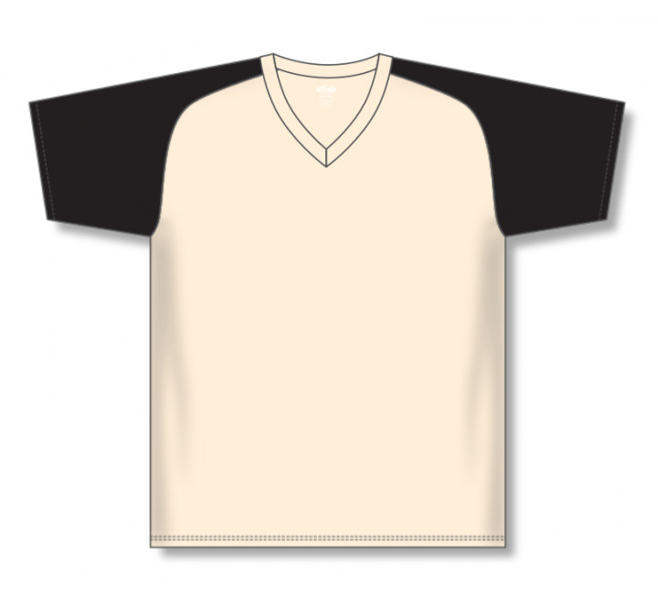 V-Neck Baseball Jerseys - Sand/Black