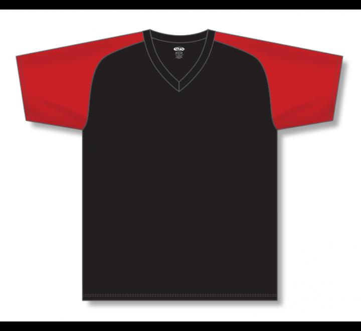 V-Neck Baseball Jerseys - Black/Red
