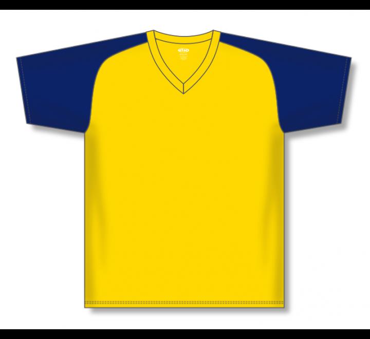 V-Neck Baseball Jerseys - Maize/Navy