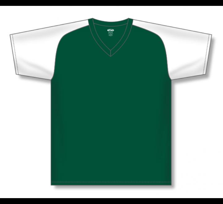 V-Neck Baseball Jerseys - Dark Green/White