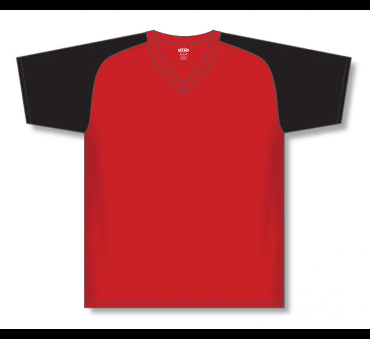 V-Neck Baseball Jerseys - Red/Black