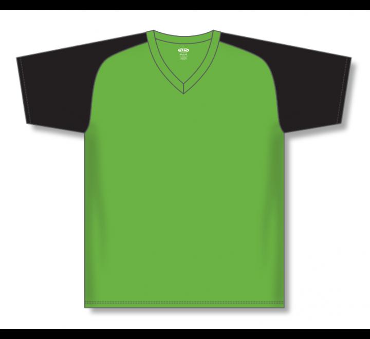 V-Neck Baseball Jerseys - Lime Green/Black