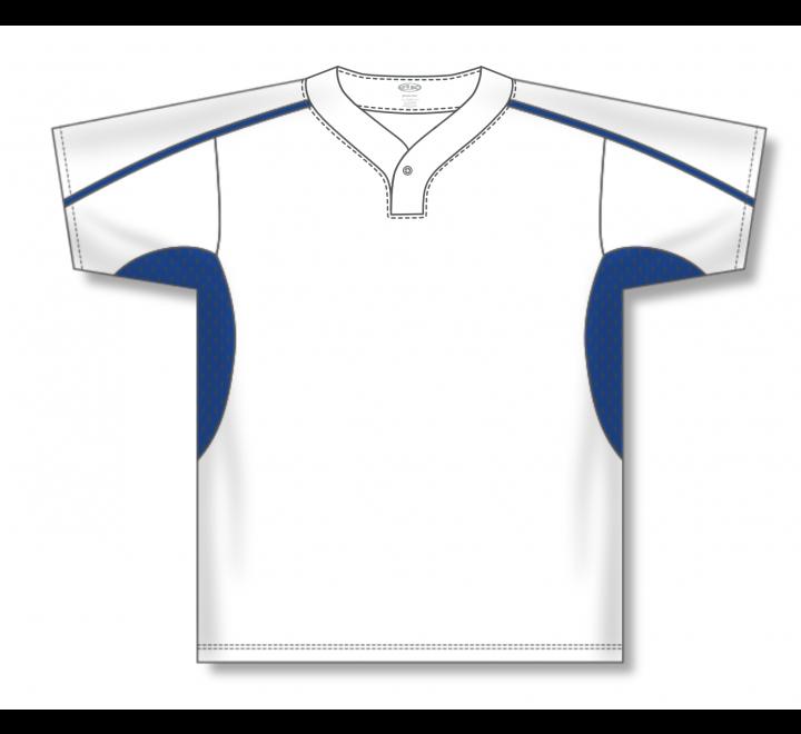 One Button Baseball Jerseys - White/Royal