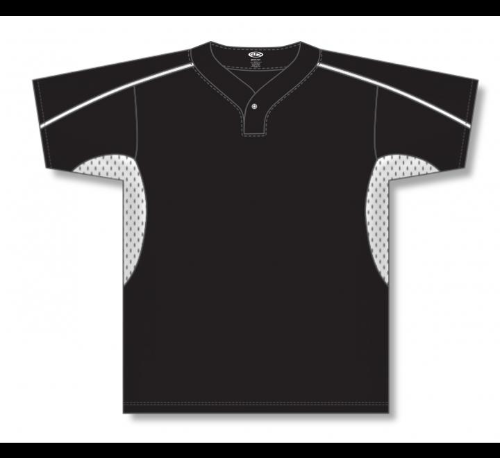 One Button Baseball Jerseys - Black/White