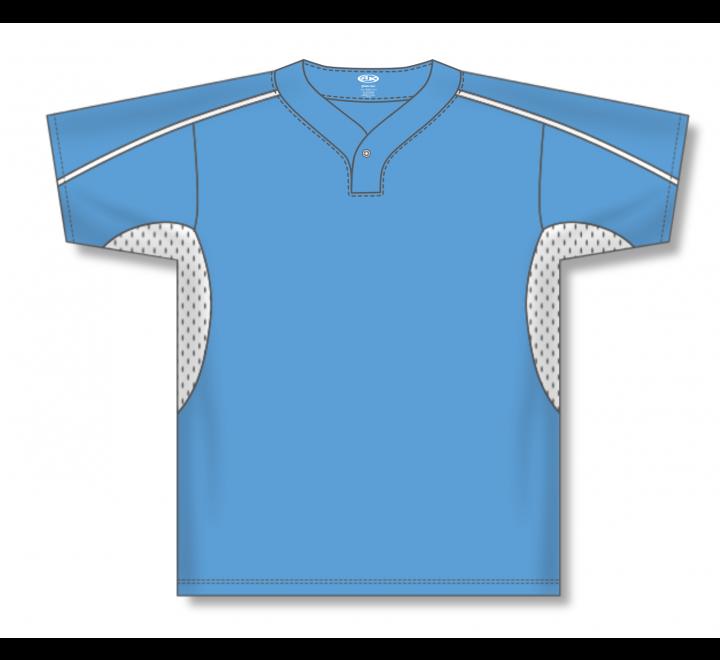 One Button Baseball Jerseys - Sky/White