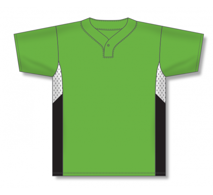 One Button Baseball Jerseys - Lime Green/White/Black