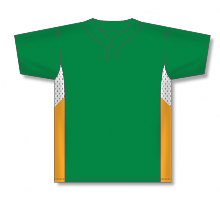One Button Baseball Jerseys - Kelly/White/Gold