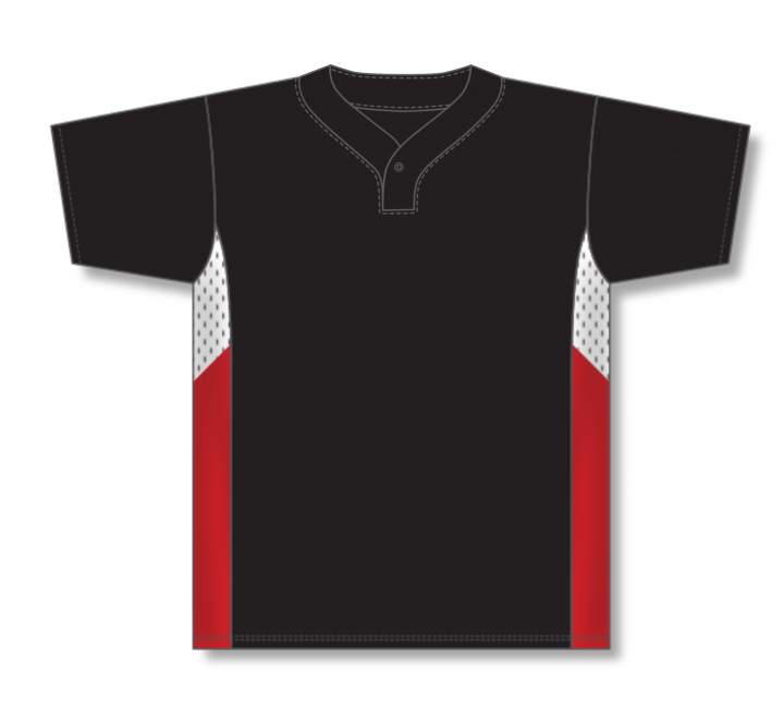 One Button Baseball Jerseys - Black/White/Red