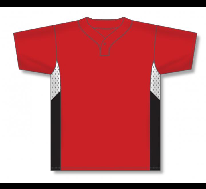One Button Baseball Jerseys - Red/White/Black