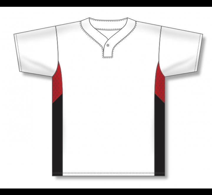 One Button Baseball Jerseys - White/Red/Black