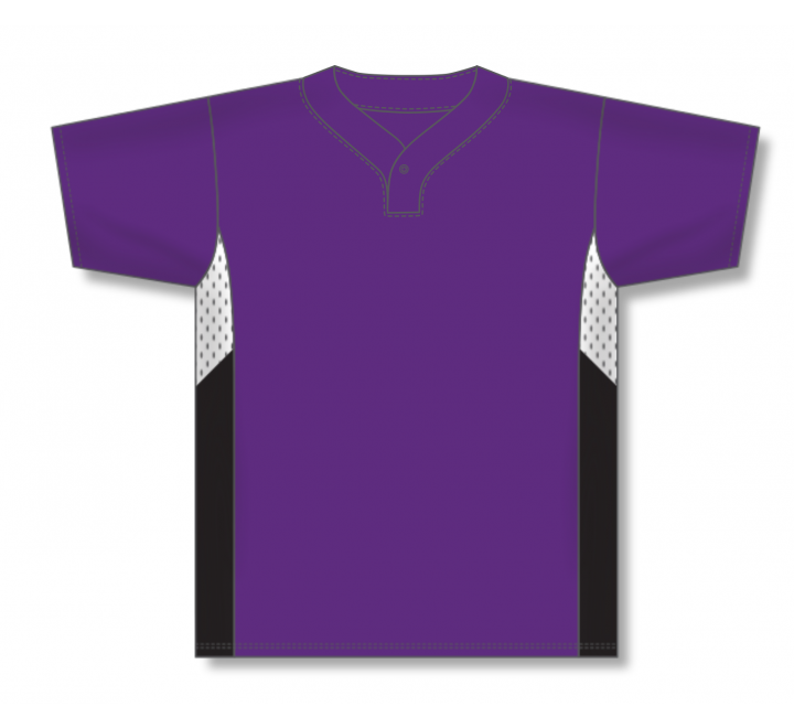 One Button Baseball Jerseys - Purple/White/Black