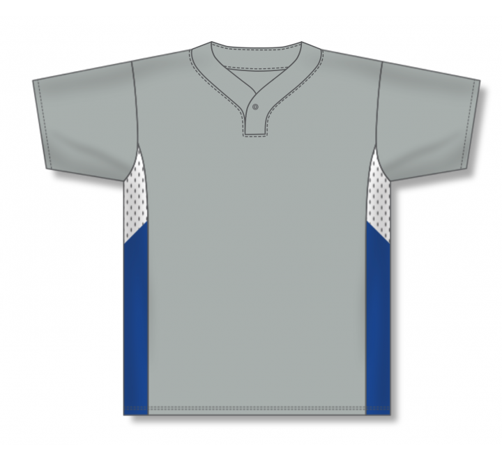 One Button Baseball Jerseys - Grey/White/Royal