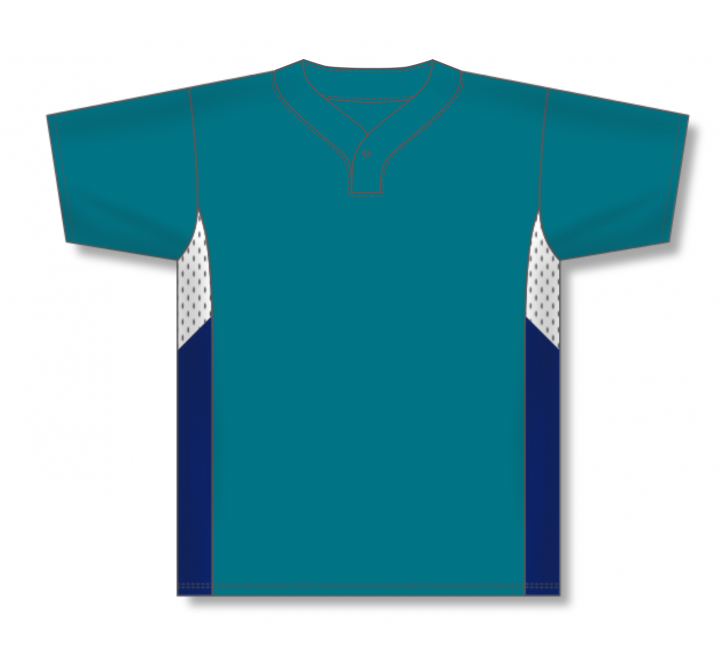 One Button Baseball Jerseys - Pacific Teal/White/Navy