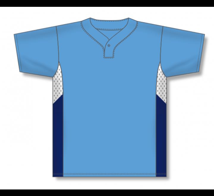 One Button Baseball Jerseys - Sky/White/Navy
