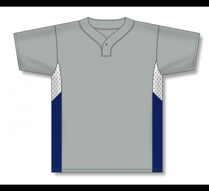 One Button Baseball Jerseys - Grey/White/Navy