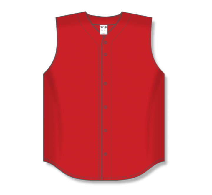 Full Button Baseball Jerseys - Red