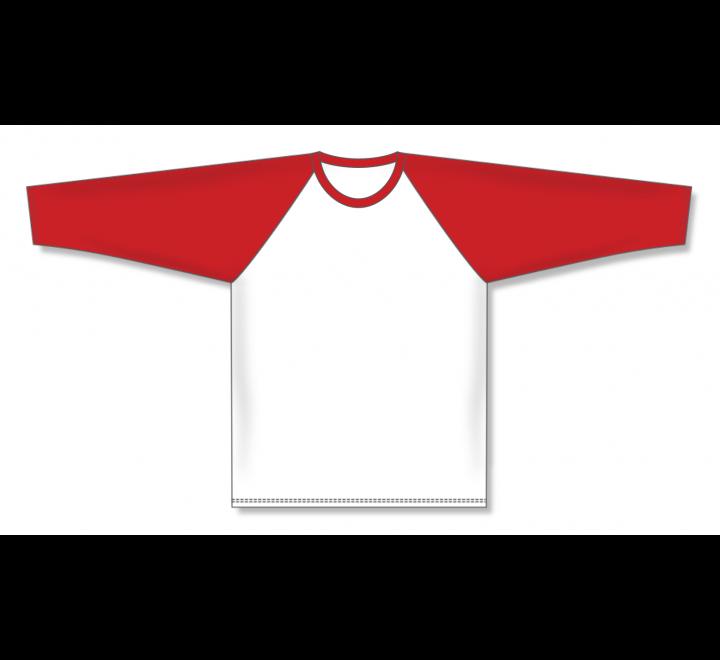 Pullover Long Sleeve Baseball Jerseys - White/Red