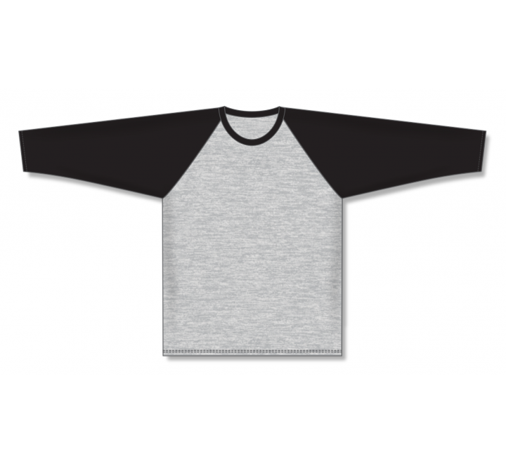 Pullover Long Sleeve Baseball Jerseys - Heather Grey/Black