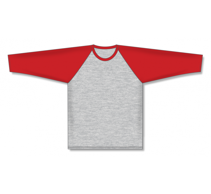 Pullover Long Sleeve Baseball Jerseys - Heather Grey/Red