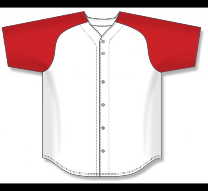Full Button Baseball Jerseys - White/Red