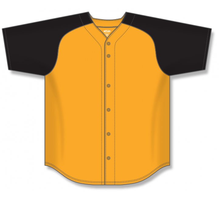 Full Button Baseball Jerseys - Gold/Black