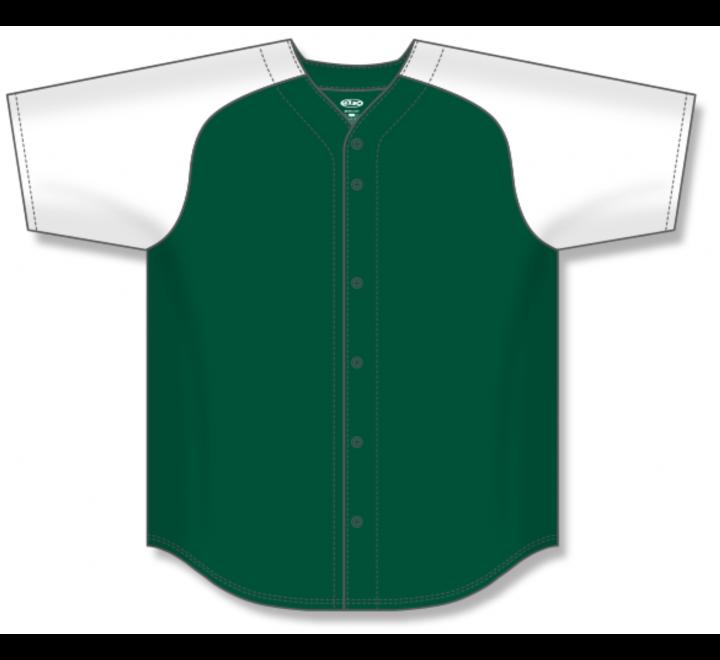 Full Button Baseball Jerseys - Dark Green/White