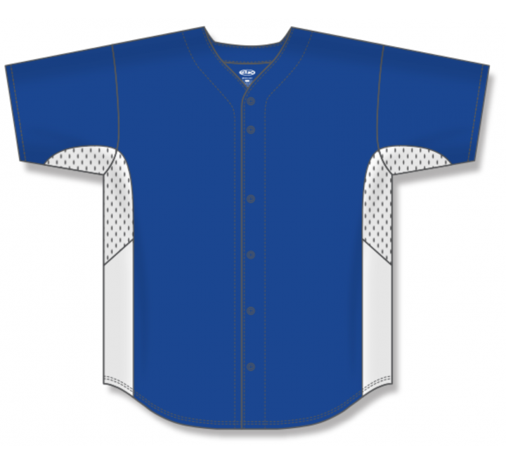 Full Button Baseball Jerseys - Royal/White