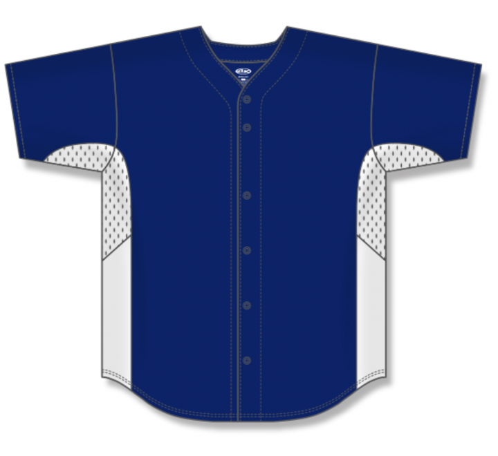 Full Button Baseball Jerseys - Navy/White