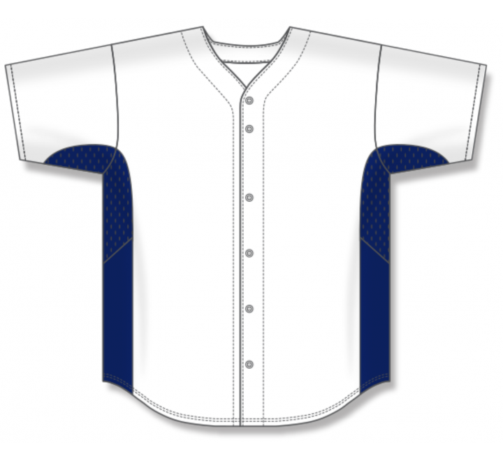 Full Button Baseball Jerseys - White/Navy