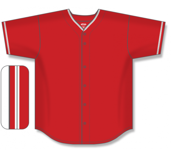 Full Button Baseball Jerseys - Red/White/Grey